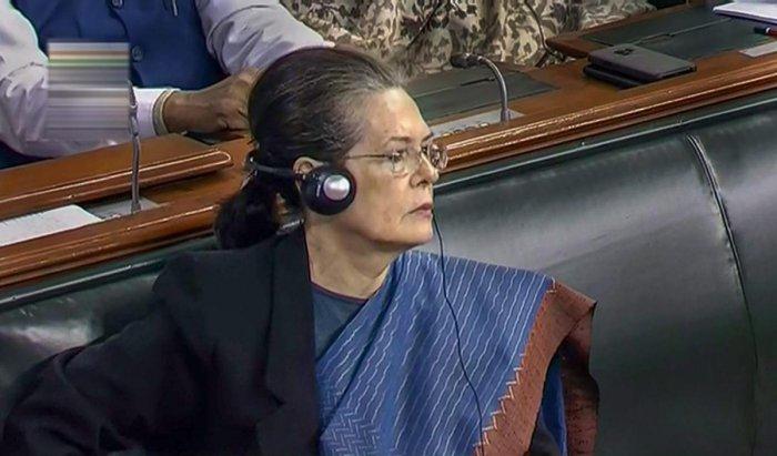 New Delhi: Former Congress president Sonia Gandhi in the Lok Sabha. (LSTV grab via PTI)