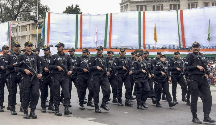 Lucknow: Uttar Pradesh's Anti Terrorist Squad (ATS) march during the 70th Republic Day celebrations, at Vidhan Bhawan, Lucknow, Saturday, Jan 26, 2019. (PTI Photo/Nand Kumar) (PTI1_26_2019_000262B)