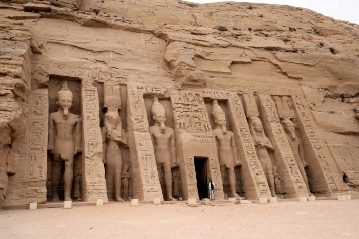 A picture taken on January 27, 2019, shows the temple of Hathor and Nefertari, also known as the Small Temple, in Abu Simbel, south of Aswan in upper Egypt. (AFP File Photo)