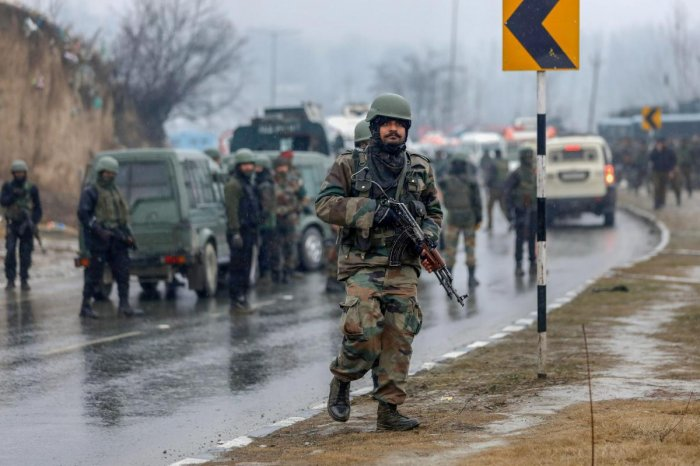 Awantipora: Army soldiers near the site of suicide bomb attack at Lathepora Awantipora in Pulwama district of south Kashmir, Thursday, February 14, 2019. At least 30 CRPF jawans were killed and dozens other injured when a CRPF convoy was attacked. (PTI Ph