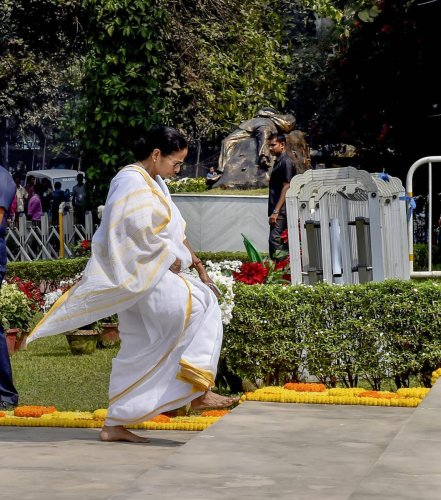 West Bengal Chief Minister Mamata Banerjee at an event to mark the International Mother Language Day, in Kolkata on Thursday. PTI photo