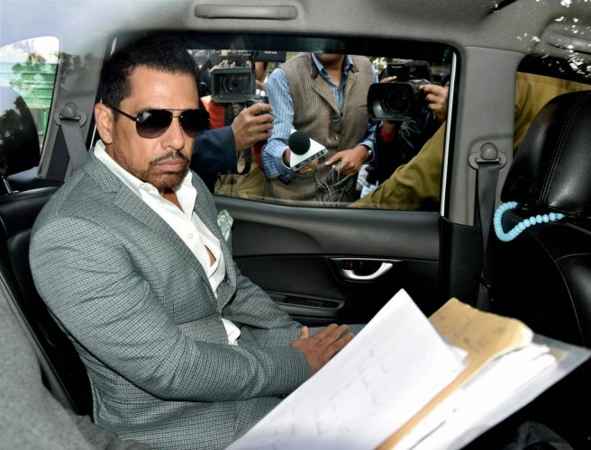 New Delhi: Businessman Robert Vadra arrives at the Enforcement Directorate (ED) office for questioning in connection with a money laundering case, in New Delhi, Friday, Feb 22, 2019. (PTI Photo) (PTI2_22_2019_000021B)
