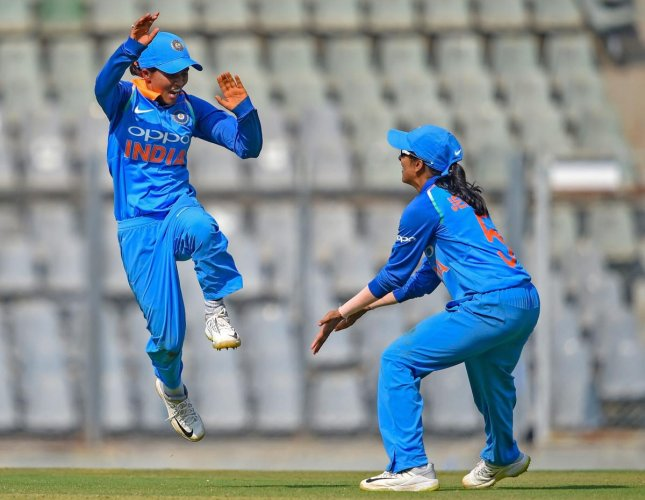 ECSTATIC Left-arm spinner Ekta Bisht celebrates after dismissing an English batswoman in the first one-day international in Mumbai on Friday. PTI