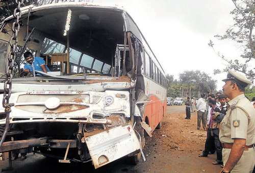 Two PU students killed as KSRTC  bus collides head-on with tractor