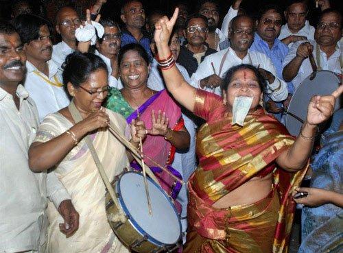 Celebrations in Telangana as AP CM prepares to resign