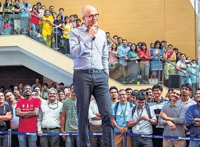 Microsoft CEO lands in Hyderabad