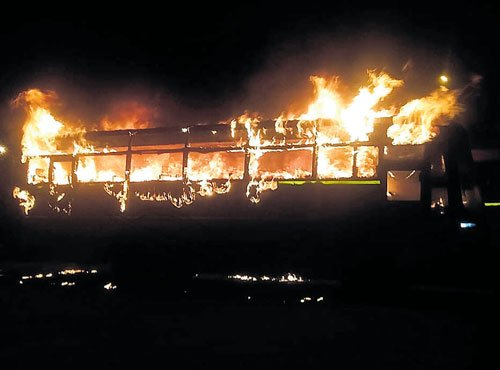 Fire guts four buses at KSRTC depot; insiders' job suspected