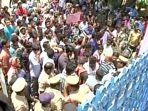 Protesting students detained for bid to enter HCU seeking VC's removal