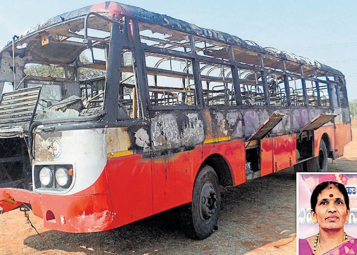 Woman charred to death as KSRTC bus goes up in flames