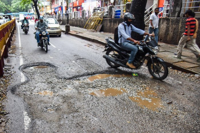 A glimpse of potholes in the city. Credit: DH Photo