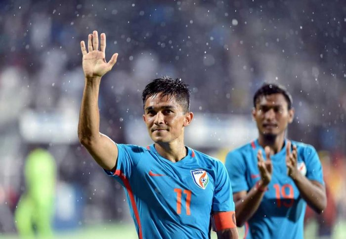 Chhetri scored a brace to take India to the cup and took his tournament total to eight goals. PTI Photo