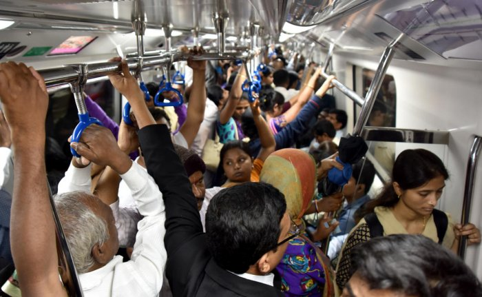 Metro trains pose a higher risk of spreading the H1N1 infection as they are completely closed, save for ventilation through airconditioning. DH FILE PHOTO
