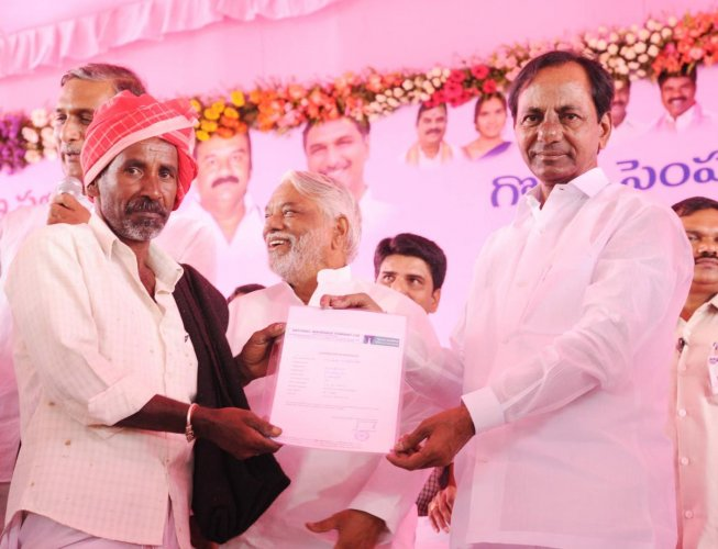 File photos of Telangana CM K Chandrasekhar Rao