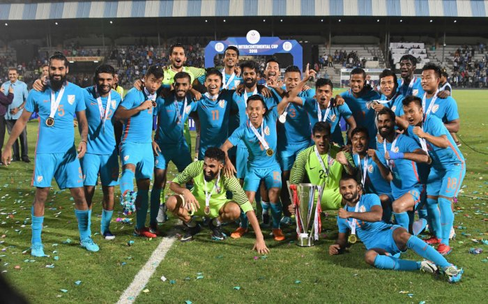 Indian team celebrate with the winning trophy after beating Kenya in final at the Hero International Cup football, in Mumbai on Sunday. PTI photo