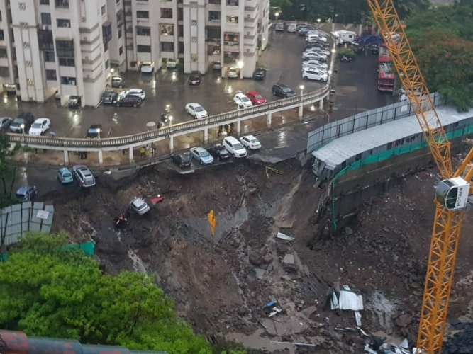 A view of the parking lot of Llyods Estate Building at Antop Hill-Wadala area, in Mumbai on Monday. (DH Photo)