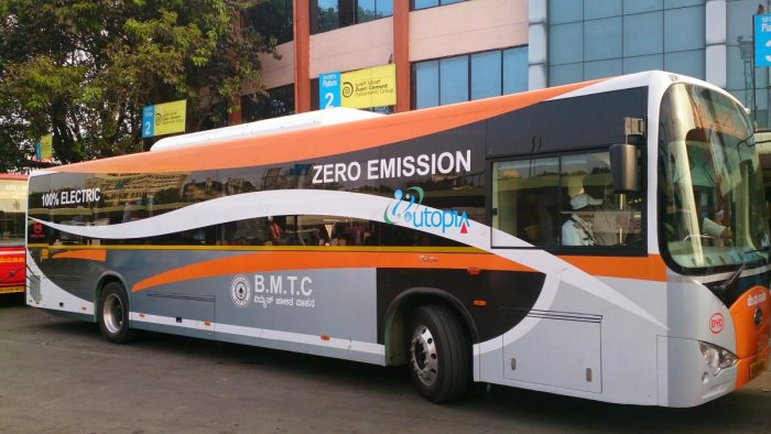 An electric bus that was opertated on a trial basis for BMTC a few years ago.