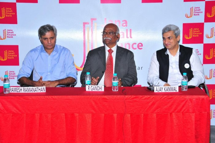 From left to right - Ramesh Ramanathan, Non-Executive Chairman, Jana Small Finance Bank; Chief Guest - R Gandhi, Former Deputy Governor of Reserve Bank of India and Ajay Kanwal, MD and CEO, Jana Small Finance Bank while addressing the press conference in