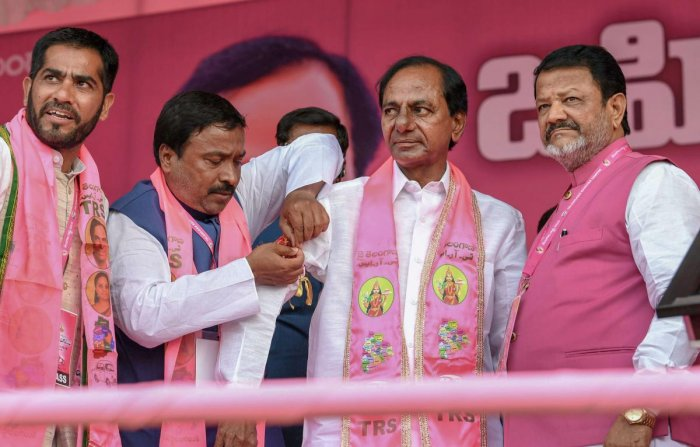 TRS Supremo and Telangana Chief Minister K Chandrasekhar Rao with party leaders at a public meeting in Nizamabad, Wednesday, Oct 3, 2018. (PTI Photo)