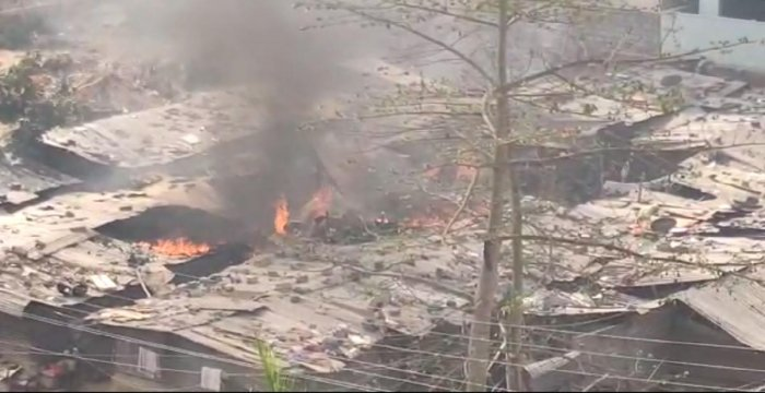 A video grab of the huts that caught fire near Bellandur on Tuesday.