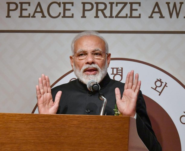 Prime Minister Narendra Modi addresses after receiving the Seoul Peace Prize, at the award ceremony in Seoul, on February 22, 2019. PIB/PTI