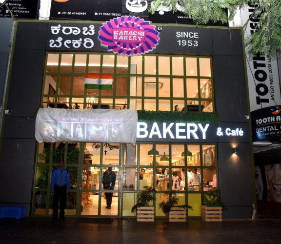 The Karachi Bakery with its board covered at 100 Ft Road, Indiranagar, on Friday. DH Photo/S K Dinesh