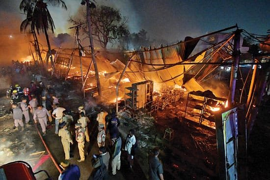 Fire at the All India Industrial Exhibition at the Nampally grounds in Hyderabad