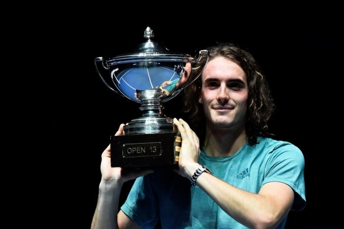 RISING STAR: Greece's Stefanos Tsitsipas with the Marseille Open trophy after defeating Kazakhstan's Mikhail Kukushkin in the final. AFP