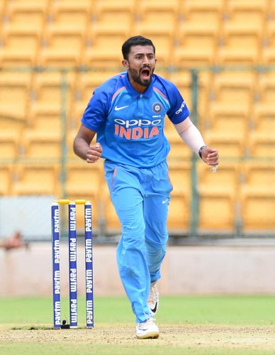 MAKING A POINT Shreyas Gopal returned to action with a five-wicket haul to set up Karnataka 146-run win over Arunachal Pradesh in Cuttack on Sunday. DH File Photo