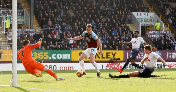 Burnley's Ashley Barnes scores their second goal against Tottenham.