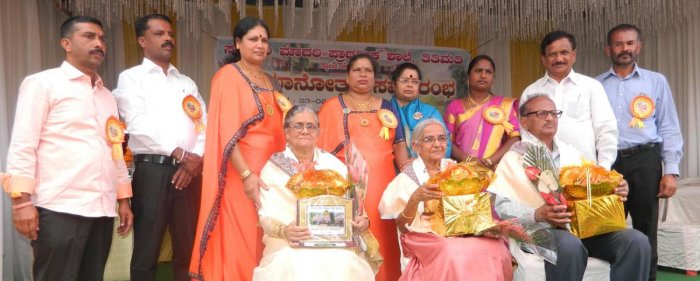 Senior teachers were felicitated during the centenary celebrations of Government Model Higher Primary School in Titimati on Sunday.