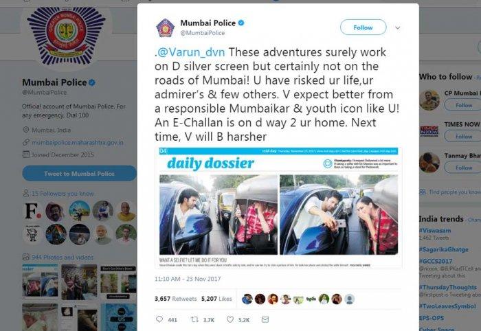 Mumbai Police sends Varun Dhawan a warning on Twitter