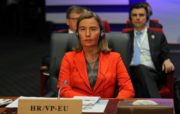 """Federica Mogherini, High Representative of the EU for Foreign Affairs and Security Policy and Vice President of the EU Commission, urged Pakistan and India to urgently """"de-escalate"""" the tension which has built up after the attack. (Reuters File Photo)"""