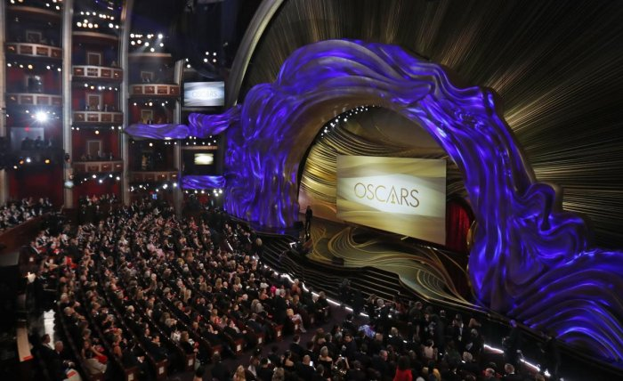 The Oscars stage before the start of the show. (Reuters Photo)