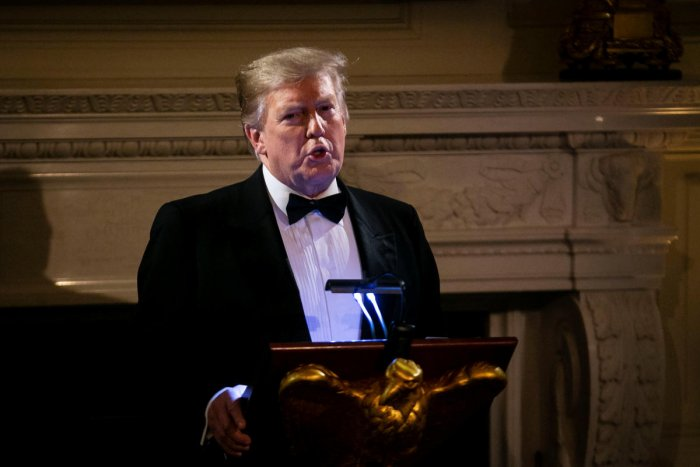 U.S. President Donald Trump speaks on U.S. and China trade negotiations at the Governors' Ball, in the State Dining Room of the White House, in Washington. (Reuters Photo)