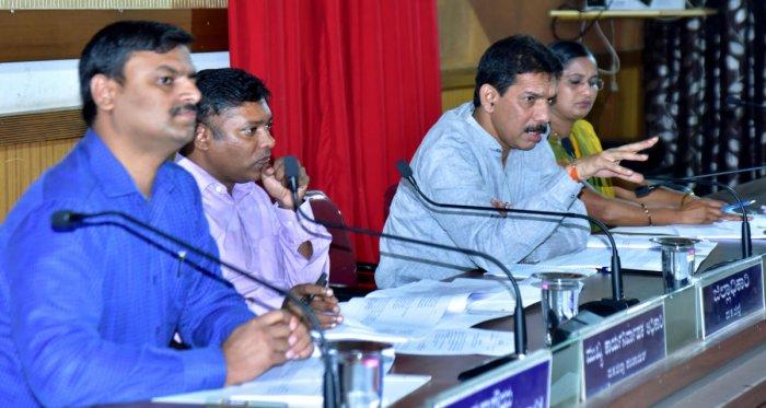 MP Nalin Kumar Kateel addresses a Development Coordination and Monitoring Committee (DISHA) meeting at the Nethravathi Hall of the Zilla Panchayat in Mangaluru on Monday.