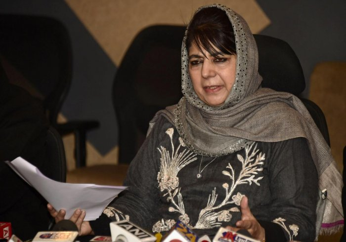 Peoples Deomocratic Party (PDP) president Mehbooba Mufti addresses a press conference in Srinagar on Monday. PTI photo