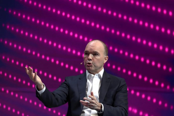 Nick Read, Chief Executive Officer of Vodafone, gestures as he speaks during the Mobile World Congress in Barcelona, Spain February 25, 2019. REUTERS