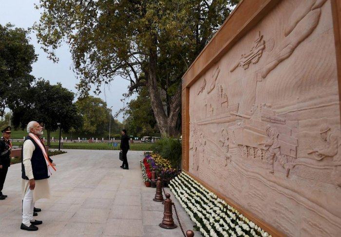 Prime Minister Narendra Modi during the dedication ceremony of the National War Memorial at the India Gate complex in New Delhi on February 25. PTI