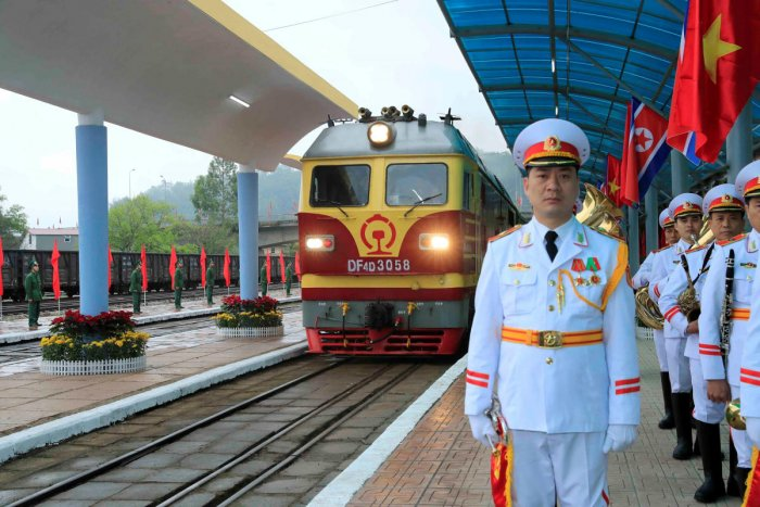 Vietnamese soldiers stand guard as a train transporting North Korea's leader Kim Jong Un arrives at the border town with China in Dong Dang, Vietnam on Tuesday. (Nhan Sang/VNA via REUTERS)