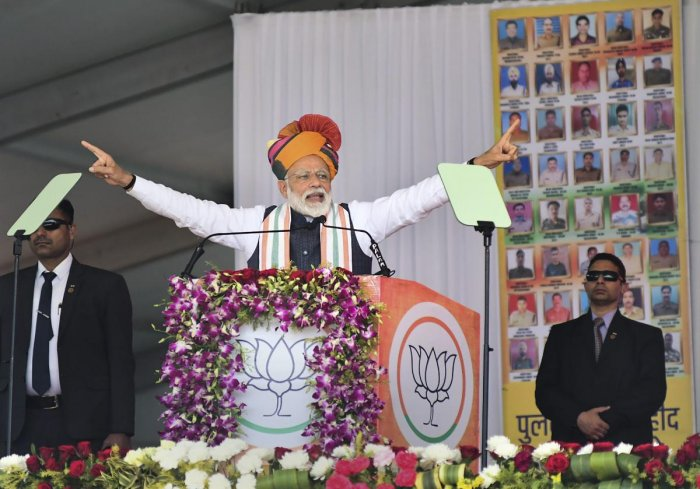 Prime Minister Narendra Modi addresses a public rally in Churu, Rajasthan, Tuesday, Feb 26, 2019. (PTI Photo)