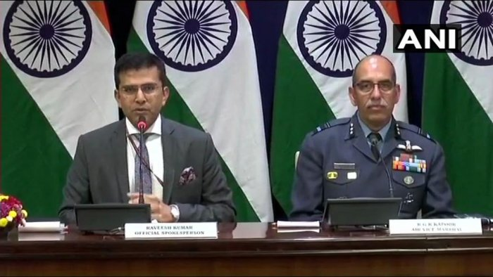 In a very brief press statement, External Affairs Ministry Spokesperson Raveesh Kumar, accompanied by Air Vice Marshal R G K Kapoor, also said details are being ascertained about Pakistan's claim of having captured one Indian pilot. (Image: ANI/Twitter)