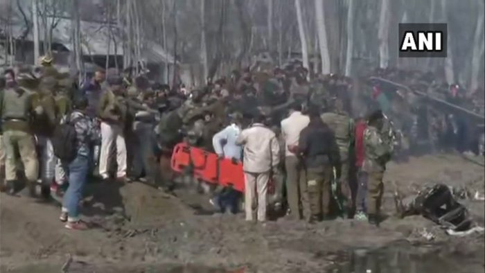 Earlier, officials in Srinagar had described the downed aircraft as a jet. They said the aircraft broke into two and caught fire immediately.