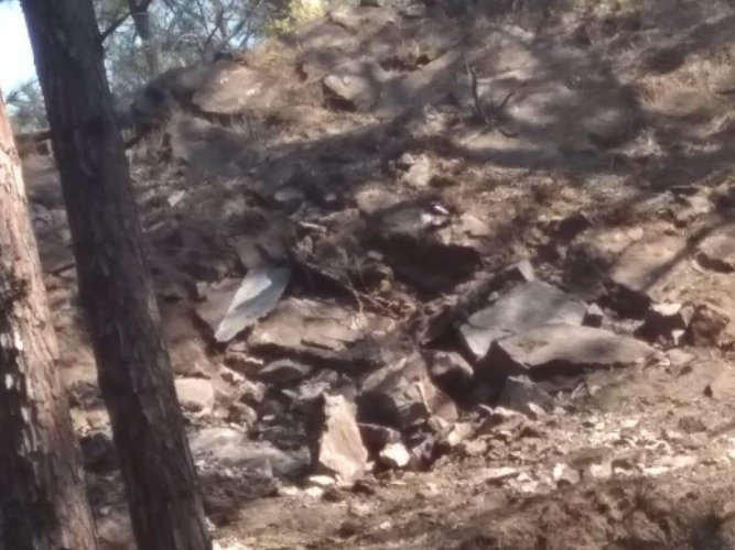 Pictures of craters formed from Pakistani bombs dropped near Indian Army post in Rajouri sector. Pic courtesy: Army sources
