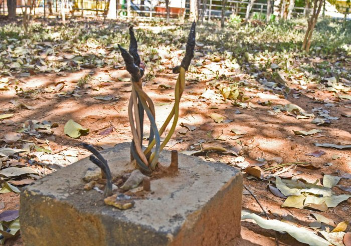 The spot in Rajkumar Park, Kammanahalli, where seven-year-old Uday Kumar was electrocuted on Monday. DH PHOTO/S K DINESH