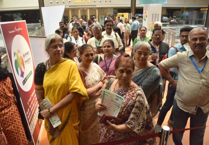 People line up at the PVR Cinemas, Orion Mall, to watch films at the Bengaluru International Film Festival (Biffes) onTuesday. DH PHOTO/S K DINESH
