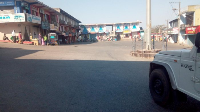 Somwarpet town wears a deserted look during the bandh observed on Tuesday.