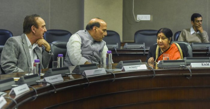 External Affairs Minister Sushma Swaraj interacts with Home Minister Rajnath Singh and Congress leader Ghulam Nabi Azad at an all-party meeting after IAF's pre-dawn strike on JeM camp, at Jawahar Lal Bhawan, in New Delhi, Tuesday, Feb 26, 2019. (PTI Photo