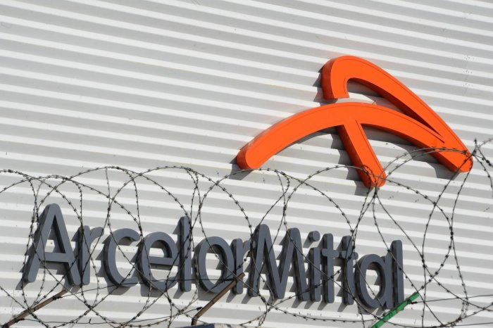A file photo shows the logo of Arcelor Mittal as its steel plant in Villaverde, near Madrid. AFP