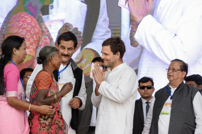 Congress President Rahul Gandhi at a public meeting, in Rourkela of Sundergarh district, on February 6, 2019. PTI