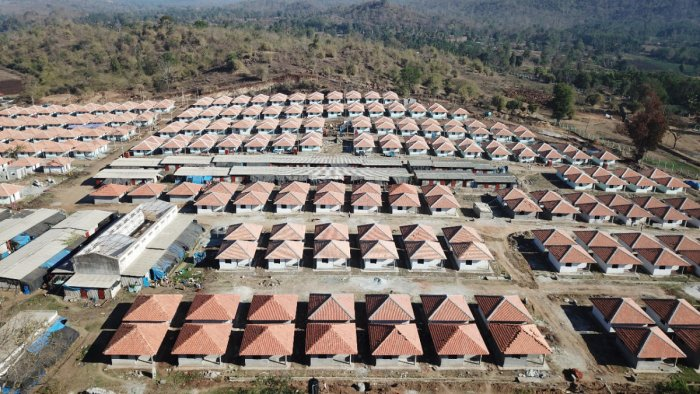 An aerial view of the newly constructed houses in Basavanahalli rehabilitation site near Kushalnagar.